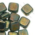 CzechMates Glass 2-Hole Square Tile Beads 6mm 'Bronze Picasso / Turquoise' (1 Strand) - Thumbnail 0