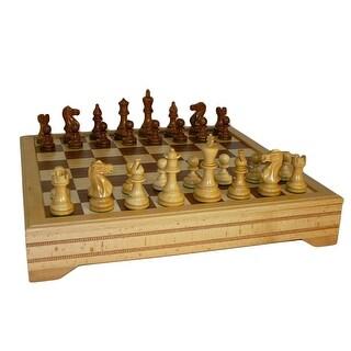 Sheesham Classic Chess Set With Beechwood Chest - Multicolored