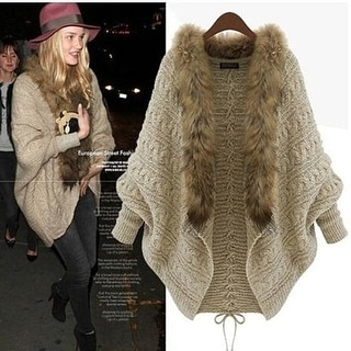 Link to Women Fur Collar Sweater Batwing Sleeve Knit Cardigan Fur Collar Coat Loose Sweater Similar Items in Women's Sweaters