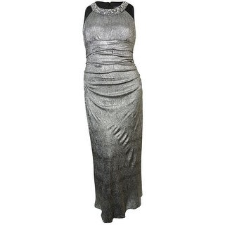 R&M Richards Women's Embellished Ruched Metallic Gown