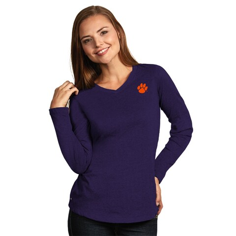 Clemson University Ladies Heather Jersey V-Neck Tee