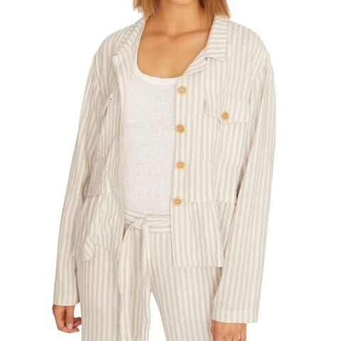 Sanctuary Women's Jacket Beige Size XS Wild Spirit Linen Striped
