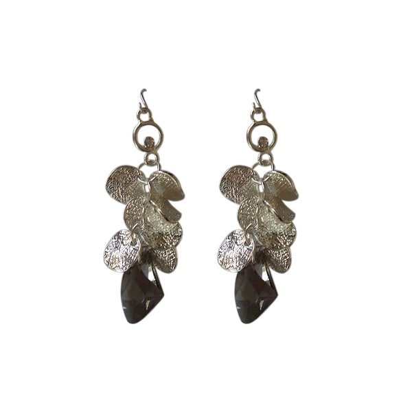 max & MO Silver Petals With Smokey Glass Pendant Earring