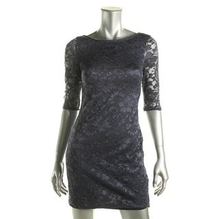 BCX Womens Juniors Floral Lace 3/4 Sleeves Party Dress