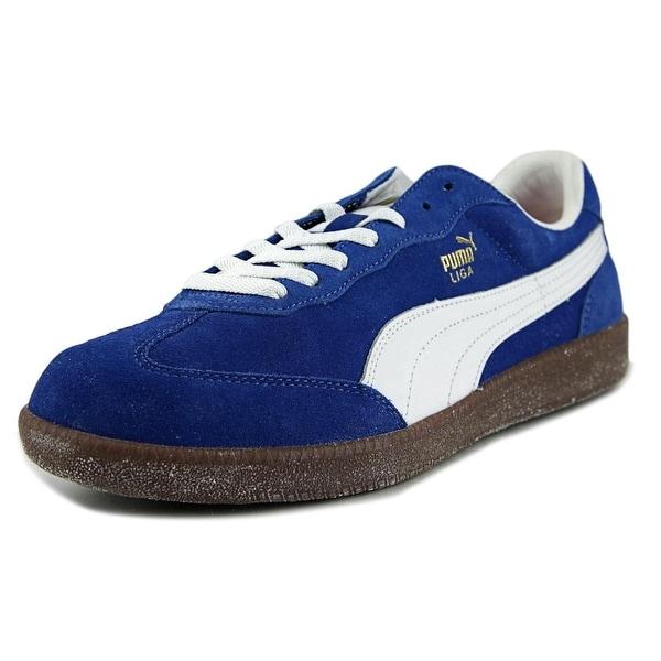 Puma Liga  Men  Round Toe Suede Blue Sneakers