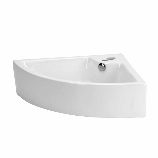 Shop Small Bathroom Corner Sink Above Counter Angled Vessel Faucet Hole And Overflow Free