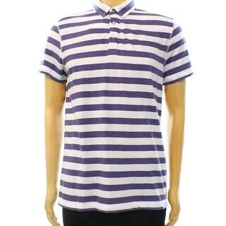 Calvin Klein Jeans NEW Purple White Mens Size Large L Stripe Polo Shirt
