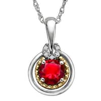 1 3/4 ct Ruby Pendant with Diamonds in Sterling Silver and 14K Gold