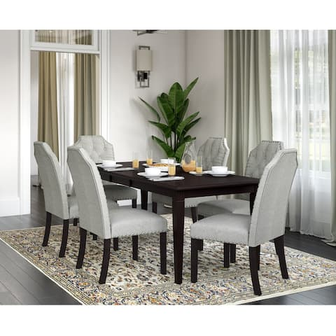 Copper Grove Teresa 7-Piece Wood Dining Table and Upholstered Dining Chairs