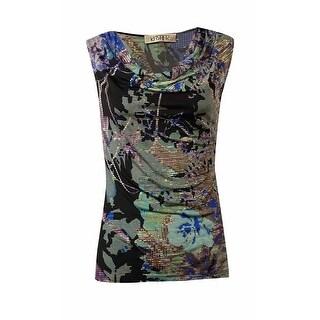 Kasper Women's Printed Draped Neckline Jersey Blouse - amethyst multi