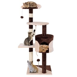 Gymax 43'' Cat Tree Kitten Activity Tower Furniture Condo Perches Scratching Posts Rope