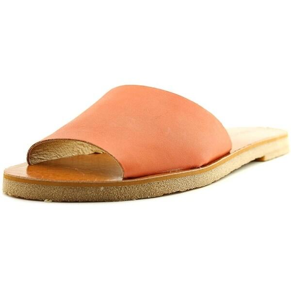 Lucky Brand Dorian Women Open Toe Leather Orange Slides Sandal