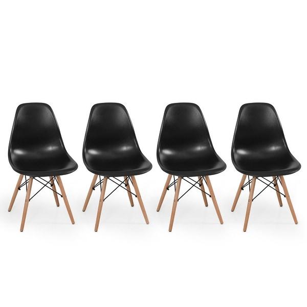 Belleze Set of (4pc) Black - Dowel Style Side Chair Natural Wood Legs