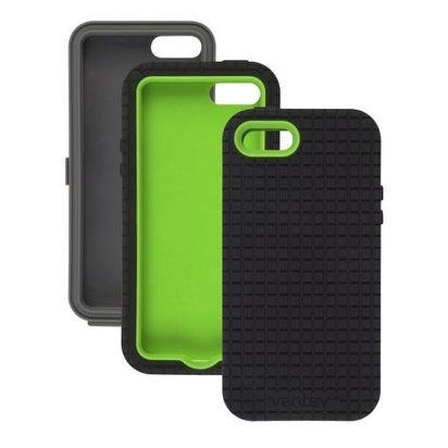 Ventev - CoreGridX Case for Apple iPhone 5/5S - Gray/Lime & Black Gel (Combo Pac