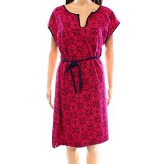Tommy Hilfiger NEW Pink Blue Women's Size XL Sheath Printed Dress
