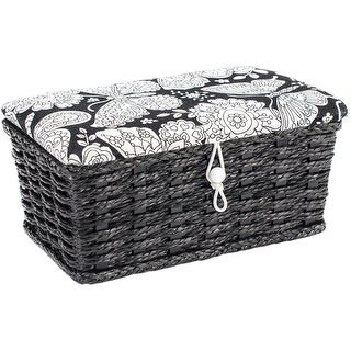 """Sewing Basket Rectangle -7.5""""X4.5""""X3.25"""" Butterfly Print"""