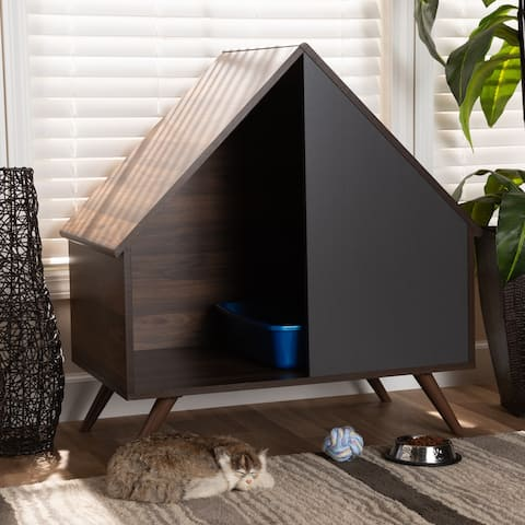 Mia Modern and Contemporary Two-Tone 2-Door Cat Litter Box Cover House