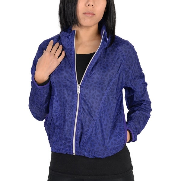 55fbfaa993af7 Shop Adidas Womens Pattern Lightweight Windbreaker Jacket Indigo ...