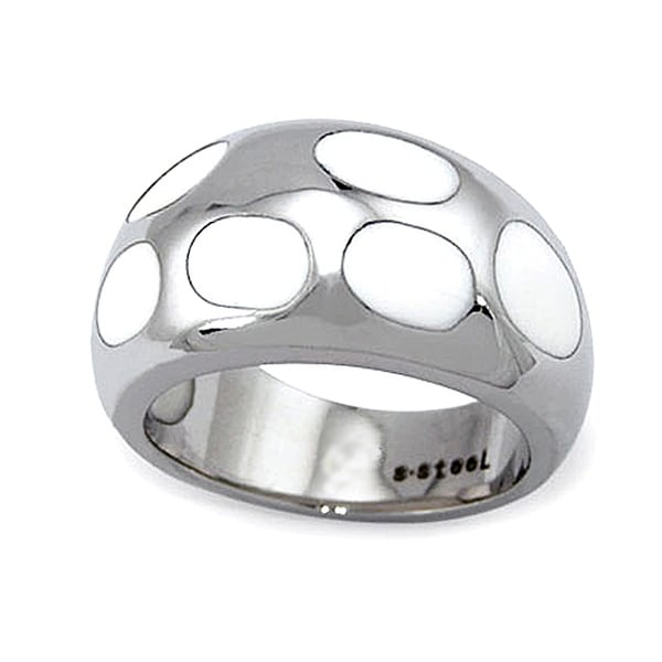 Stainless Steel Ladies' Ring with White Resin Inlay (Sizes 8-11)