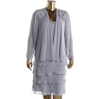 SL Fashions Womens Plus Beaded 2PC Dress With Jacket - 18