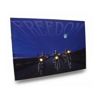 Biker Freedom 20 X 14 Printed Canvas LED Wall Hanging