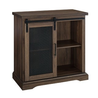 """Delacora WE-BDF32ALMD  32"""" Wide Two Shelf Laminate, Metal and Mesh Accent Cabinet"""