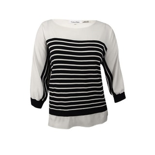 159a5cffbcc32 Shop Calvin Klein Women s Plus Size Striped Layered-Look Sweater -  White Black - Free Shipping Today - Overstock - 20249373