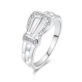 White Gold Belt Buckle Design Ring
