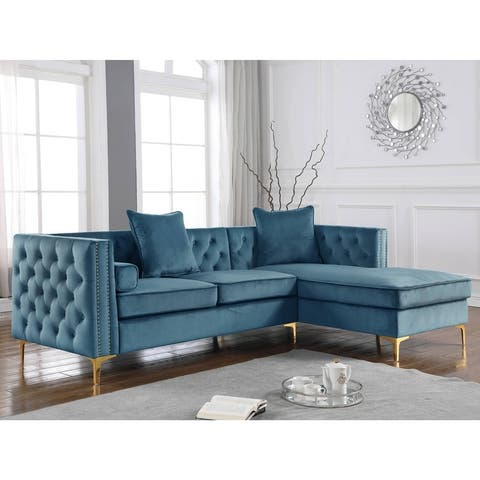Best Quality Furniture Velvet Tufted Faux Crystal Gold L-Shaped Sofa - Loveseat + Chaise
