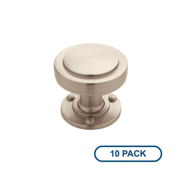Amerock BP53710-10PACK Rochdale 1-1/4 Inch Diameter Mushroom Cabinet Knob - Package of 10 - satin nickel