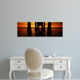 Easy Art Prints Panoramic Images's 'Pier on the beach, Manhattan Beach Pier, Los Angeles, California' Canvas Art