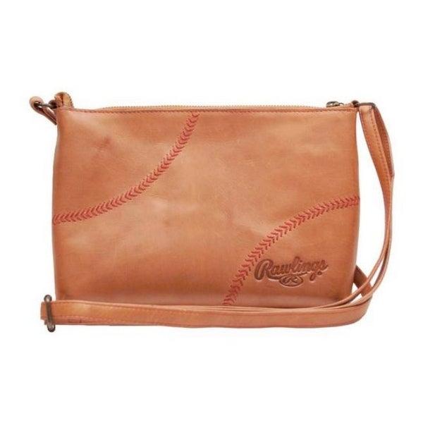 5d02571201ea Shop Rawlings Women's Crossbody Mini Bag Purse Baseball Stitch Tan ...