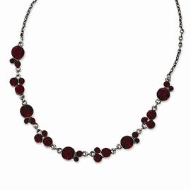 Silvertone Red Crystal Necklace - 16in