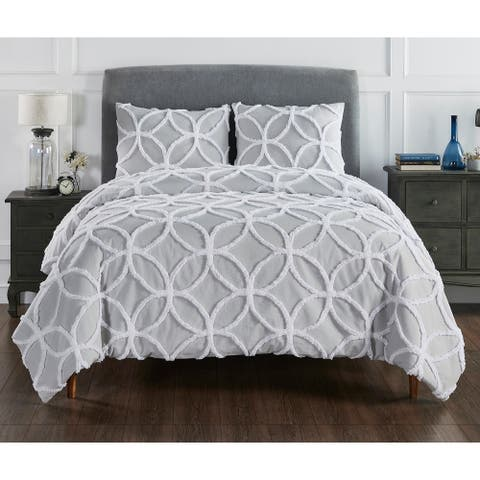 Better Trends 100% Cotton Tufted Wedding Ring 3-Piece Comforter Set