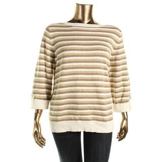 Karen Scott Womens Plus Metallic Striped Sweater