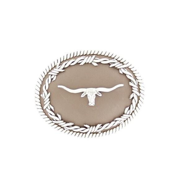 Nocona Western Belt Buckle Oval Longhorn Barbwire Brown - 3 1/4 x 4