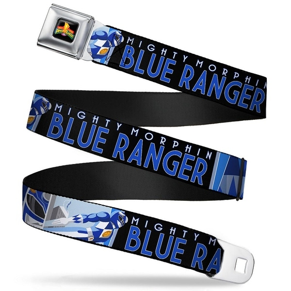 Power Rangers Logo Full Color Blue Ranger Mighty Morphin Flying Pose Face Seatbelt Belt