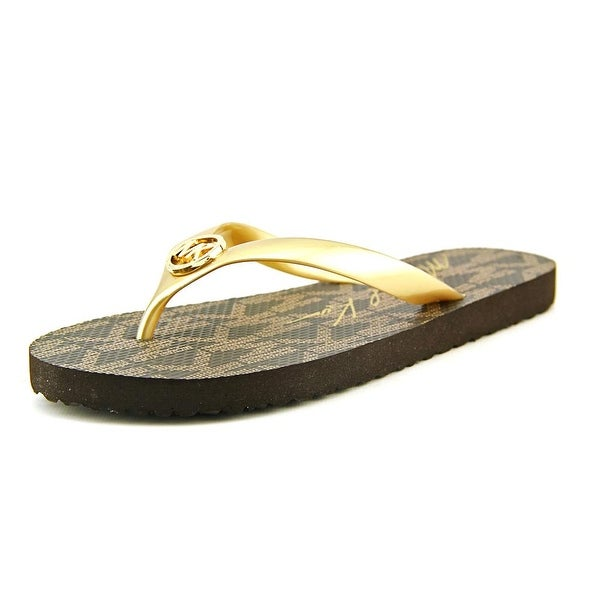c67d5817b Michael Michael Kors MK Flip Flop Women Open Toe Synthetic Gold Flip Flop  Sandal