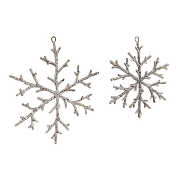 """Pack of 24 Assorted Brown and White Artificial Twig Snowflake Christmas Ornaments 8"""""""
