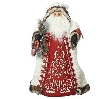 "18"" Santa With Cardinal Tree Topper - White"
