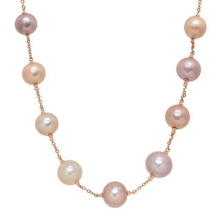 """Honora 12-16 mm Multicolored Freshwater Ming Pearl Station Chain Necklace in 14K Rose Gold, 18"""" - Multi-Color https://ak1.ostkcdn.com/images/products/is/images/direct/270b22b0e6ebbd49f9b259dafa78dfb07b841a53/Honora-12-16-mm-Multicolored-Freshwater-Ming-Pearl-Station-Chain-Necklace-in-14K-Rose-Gold%2C-18%22.jpg?impolicy=medium"""