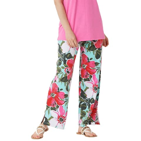 Denim & Co. Womens Beach Pull-On Pants with Side Slits XX-Small Floral