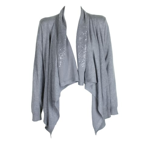 Dkny Grey Heather Sequin Embellished Draped Open Front Cardigan M-L