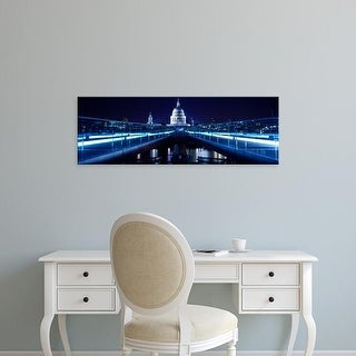 Easy Art Prints Panoramic Images's 'Millennium Bridge, Thames River, St Paul's Cathedral, London, England' Canvas Art