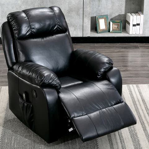 Leather Powered Recliner Chair with 8 Point Remote Control Massage
