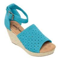 Minnetonka Women's Bell Wedge Sandal Turquoise Suede