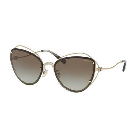 Coach Cateye HC7086 Women LIGHT GOLD Frame GREY GREEN ABSTRACT TORT Lens Sunglasses