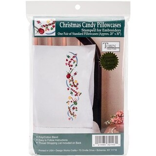 20 x 30 in. Stamped for Embroidery Pillowcase Pair - Christmas Candy
