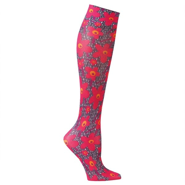 Celeste Stein Mild Compression Knee High Stockings, Wide Calf - Poppies - One size