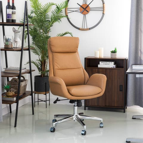 """Glitzhome 48""""H Mid-Century Modern Breathable Task Chair Leatherette Adjustable Office Chair"""